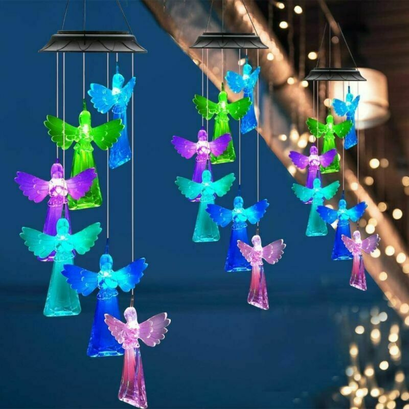 Solar Angel Wind Chimes Rainproof Changing Colors Outdoor Garden Yard Ornament
