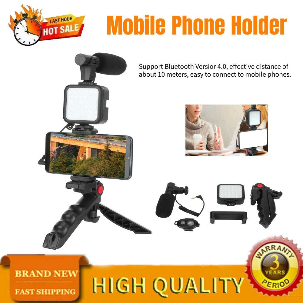 Microphone Recording Light Set for Mobile Phone Broadcast Shooting W/ Tripod Kit