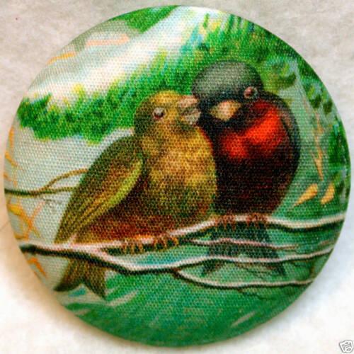 Bracken Birds  Fabric Covered Button 1 /& 1//2 inch