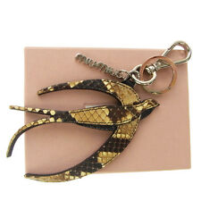 Authentic MIU MIU Swallow Motif Bag Charm Key Chain Python Leather Brown 01J755