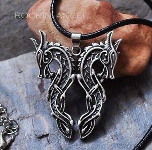 Antique-Silver-Plt-Mammen-Double-Dragon-Pendant-Necklace-Viking-Norse-Slavic