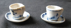 Antique German Blue Onion tiny pair cup saucer