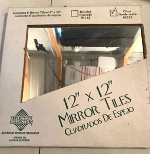 6 Mirror Tiles 12 X 12 Glass 54878812128 Ebay