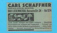 15/698 ANZEIGE AUS ZEITUNG SCHAFFNER BAD LIEBENWERDA INSTALLATEUR MEISTER
