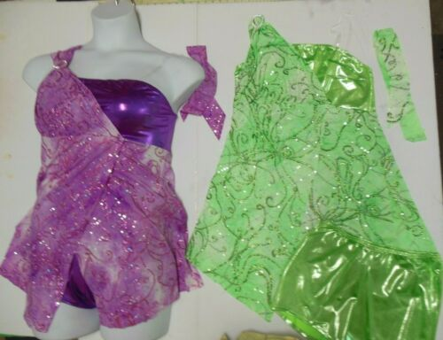 Glittered Jazz Costume Top One Shouldered Included Foil Booty Shorts hologram