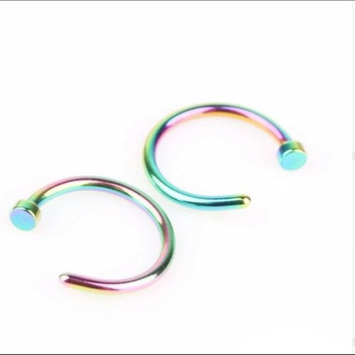 """20g 5//16/"""" Anodized Rainbow Titanium Steel Nose Ring Hoop VERY SMALL THIN GAUGE"""