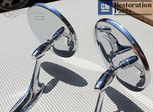 Round-Bowtie-Outside-Rearview-Mirrors-Ribbed-Base-Chevy-Chevelle-Impala-Nova-New
