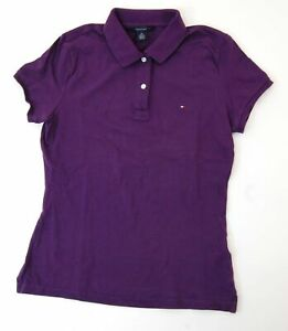 Tommy Hilfiger Poloshirt Polohemd Damen Gr.M lila uni Piquè -S1036
