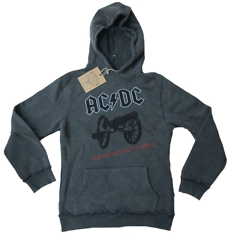 Amplified OFFI. AC DC Vintage Rock Star SWEATER con Cappuccio Maglione Pullover Hoodie S M