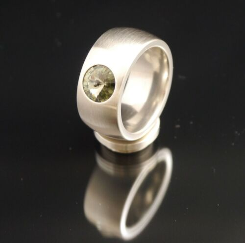 Anillos de acero inoxidable plata 11mm anillos con Swarovski Elements//ringgrössenmassband