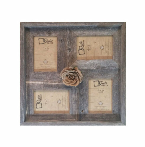 "4x6-2/"" wide Multi-Direction Rustic Barn Wood Collage Frame Holds 4-4x6 Pictures"