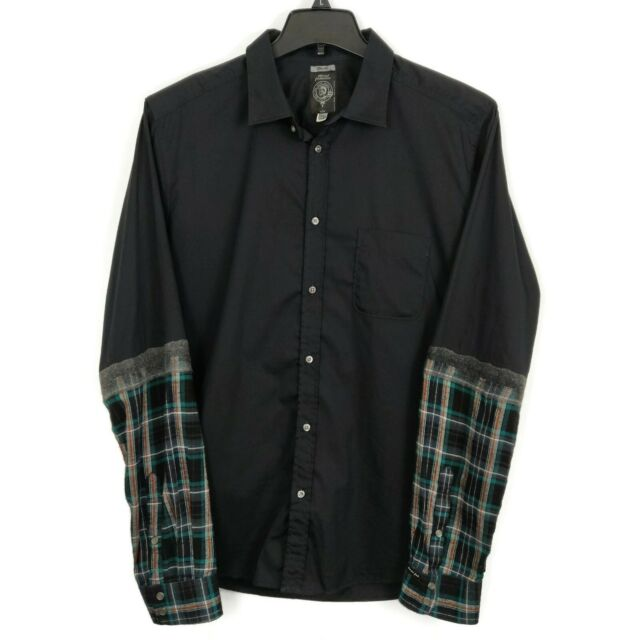 Diesel Shirt Mens Size XL Black Button Front Long Sleeves + Flannel Plaid Cuffs