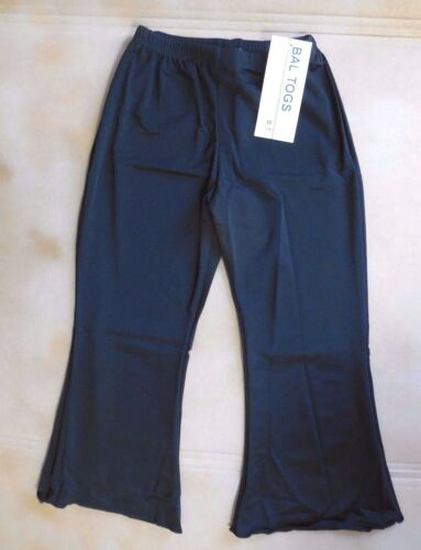 NWT Bal Togs 8436 Black  Nylon Lycra Slightly Flared Capri Pants Ladies Jazz