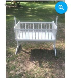 Details About Vintage Antique European Rocking Baby Cradle Bassinet 1960s Maple Wood