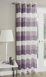 MYKONOS PURPLE/ IVORY CHARCOAL/ IVORY RINGTOP VOILE CURTAIN PANEL FREE POSTAGE