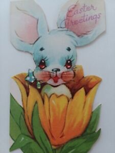 1946-Vtg-Little-BUNNY-in-a-TULIP-Cute-Die-Cut-EASTER-GREETING-CARD