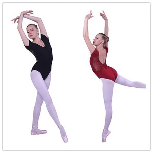 Women Black Dark RedShort Sleeve Ballet Tight Gymnastics Bodysuit Dance