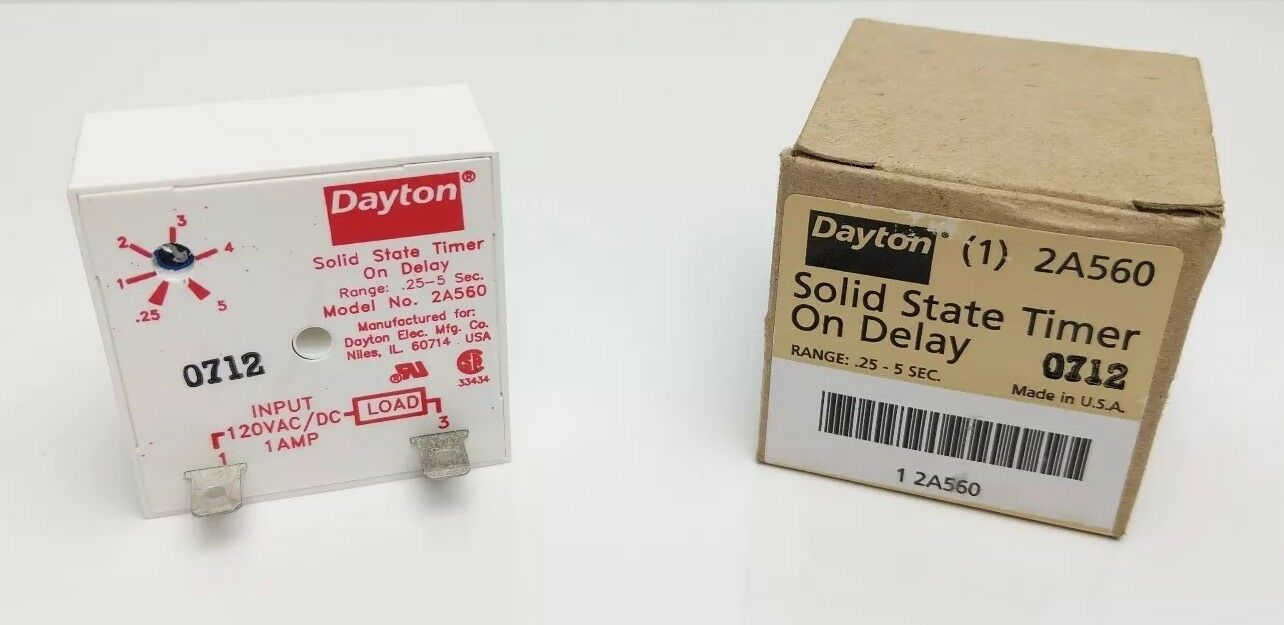 Encapsulated Timer Relay 1a Solid State Dayton 2A560 on