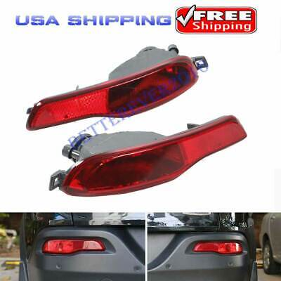 Red Rear Bumper Reflector Fog Light Cover Accessories Fits Jeep Cherokee 2014-18