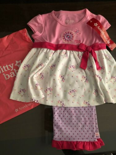 American Girl Bitty Baby Flower and Dots PJS For Girls Size M 4//5