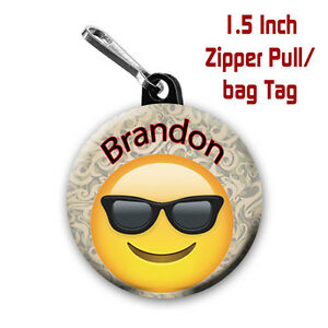 Details About Emoji Zipper Pulls Two Personalized 1 5 Inch Zipper Pull Bag Tags Cool Emoji