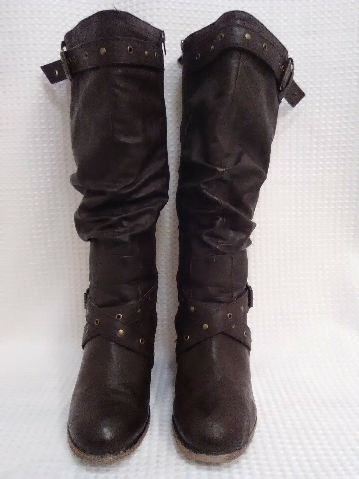 Lane Bryant Size 11W Women's Brown Wedge Heel Slouch Boot Man Made Material