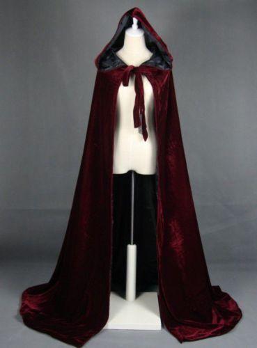 2020 Wine Black Velvet Hooded Cloak Long Wedding Cape Halloween Plus Size S-XXL
