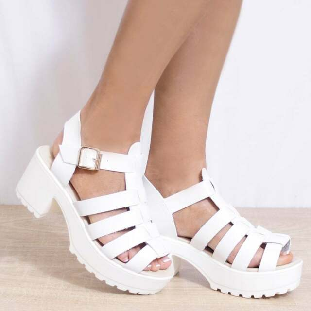 8668c950e54c02 White Wedged Cleated Platforms Strappy Sandals High HEELS PEEP Toes ...