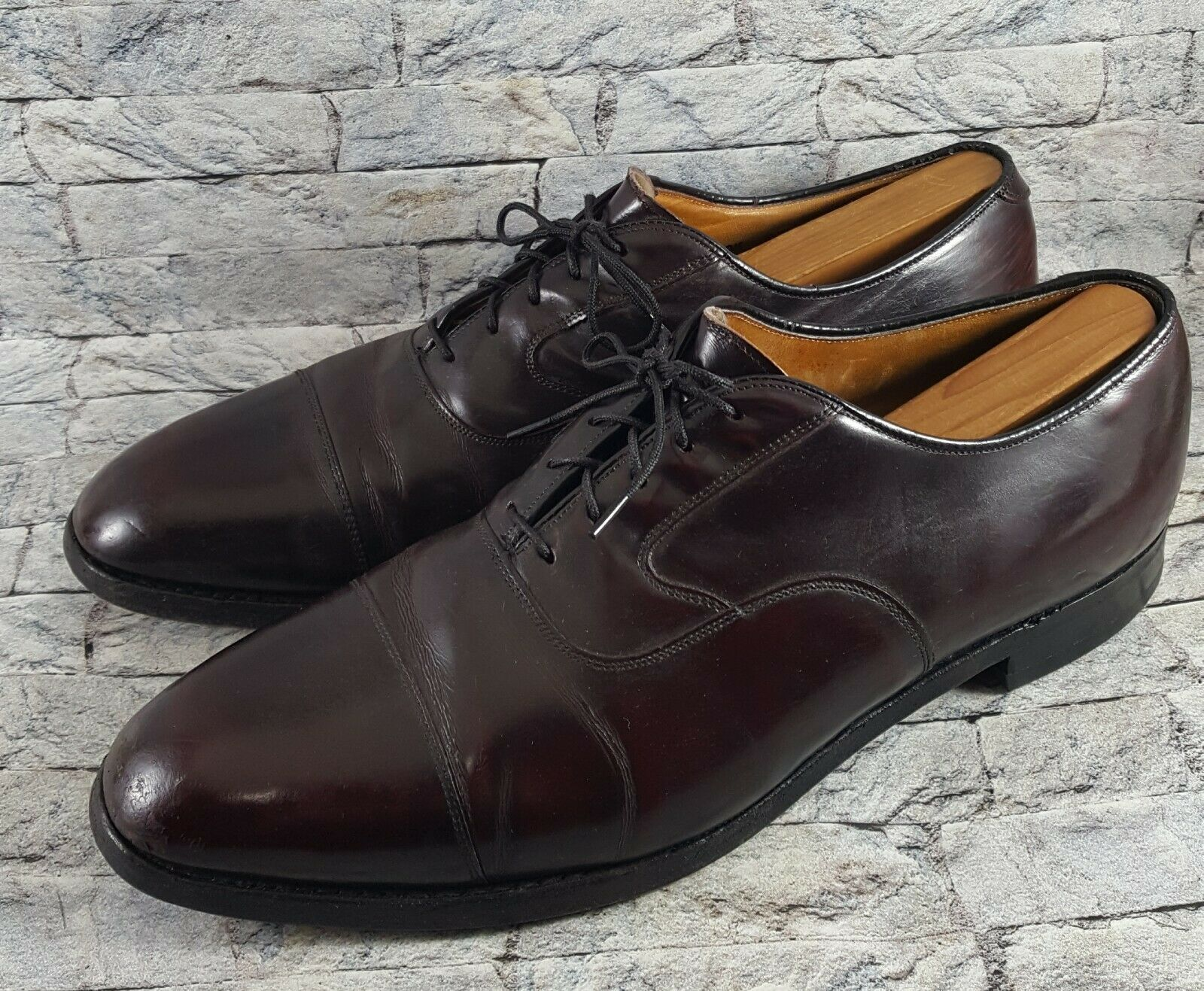 Johnston & Murphy Limited Collection Men Burgundy Leather Cap Toe Oxfords 10.5 C