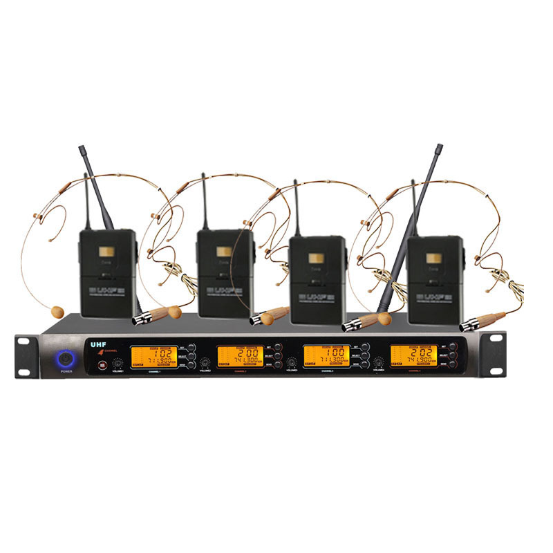 Four-Channel UHF PLL Professional Wireless Headset Headworn Microphone System