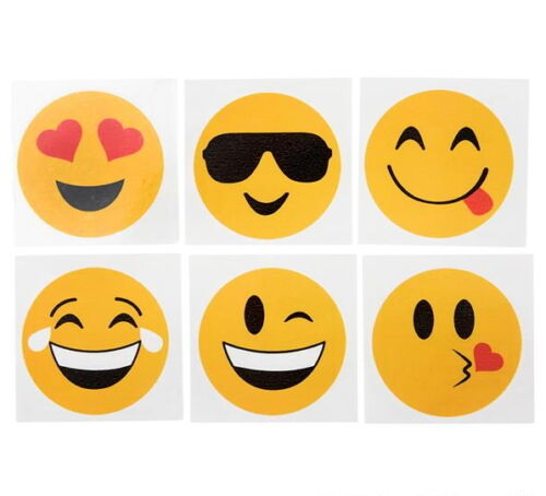 "24 Emoji 2/"" Tattoos Birthday Party Favor Goody Bags Bulk Wholesale Carnival New"