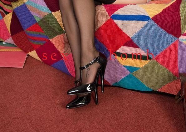 SEXY scarpe domina nere 15 con cinturino TACCO spillo 15 nere DAL num. 35 AL 46 GLAMOUR fce22d