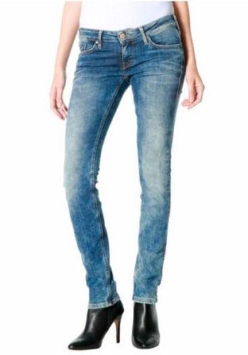 L4155 Mustang Damen Jeans Hose Gina Skinny Low Rise Slim Leg Green Cast W28//L32