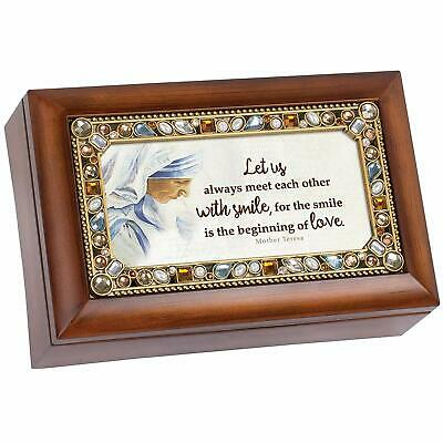 Mom I Love You Every Day Jeweled Amber Earth Toned Round Music Box