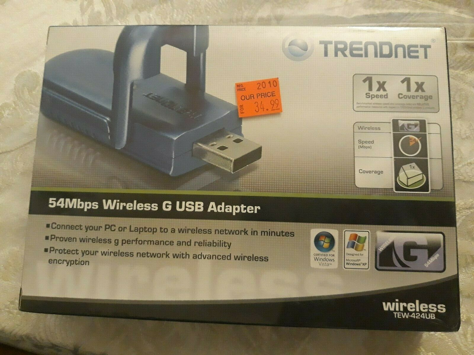 Brand New open box Trendnet TEW-424UB 54Mbps Wireless G USB Adapter Loc ?