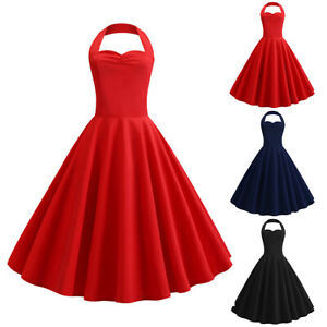d31ad6d378b Image is loading Womens-Lades-50s-Style-Vintage-Halter-Rockabilly-Evening-