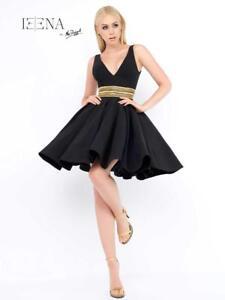87b26de6c MAC DUGGAL EMBELLISHED V-NECK BLACK FIT & FLARE E DRESS sz 2 | eBay