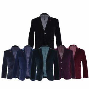 Boys Velvet Green Navy Blue Purple Burgundy Blazer Kids Jacket