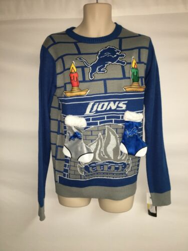 New 3D Ugly Christmas Sweater Mens Small NFL Team Apparel Lions NWT for sale