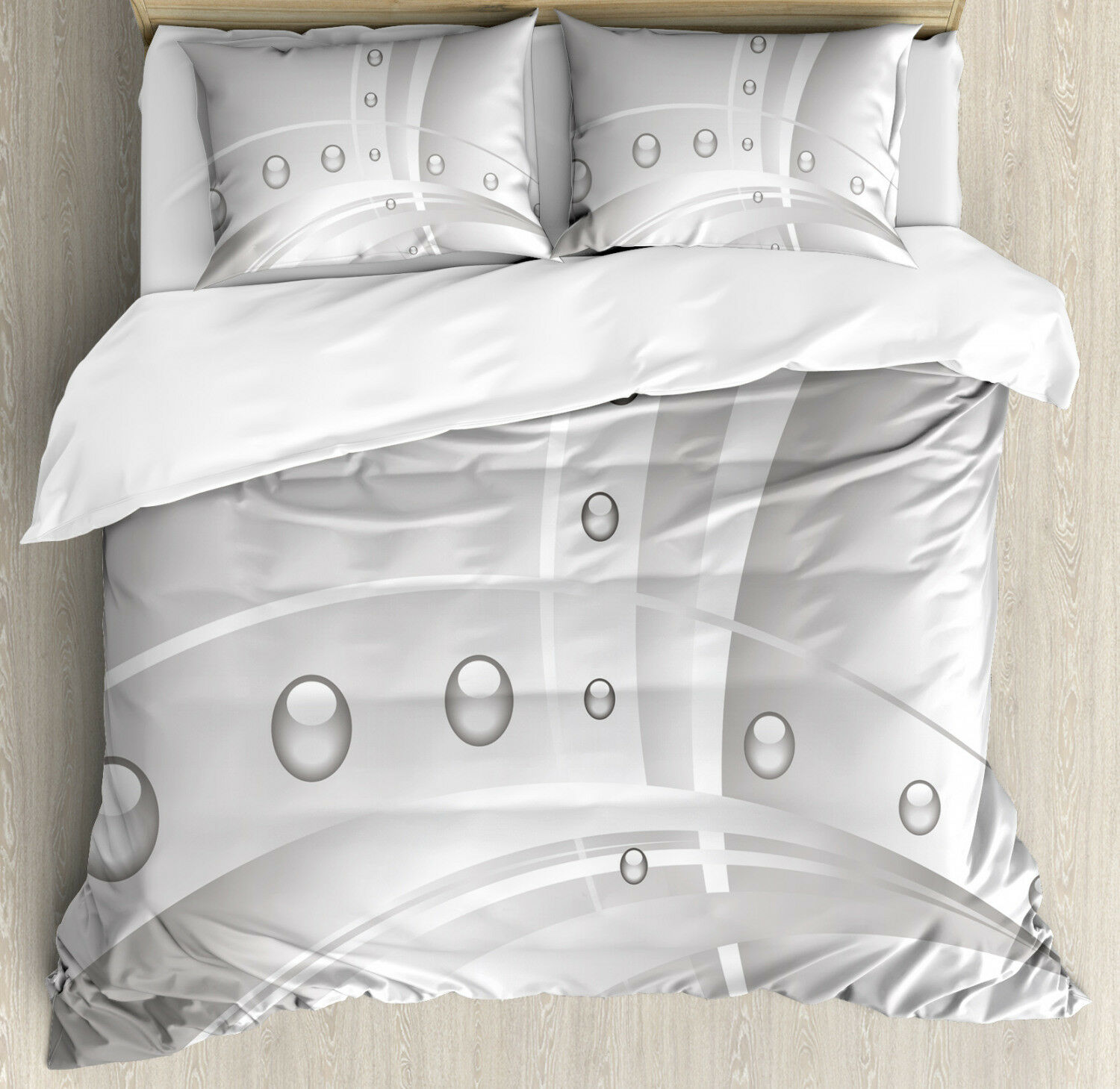 Abstract Duvet Cover Set with Pillow Shams Lines Curves Balls Print