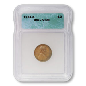 USA-Lincoln-Wheat-Cent-1c-1931-S-ICG-VF30-Very-Fine-Key-Date-Penny