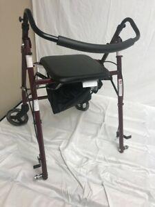 Medline-Guardian-basic-Steel-Rollator-with-Padded-Seat-Burgundy-6-039-039-w-Defect