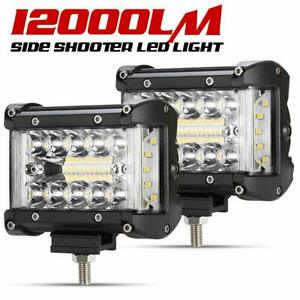 2Pcs-4-034-Side-Shooter-LED-Work-Light-Triple-Row-Auxiliary-Offroad-Driving-Light