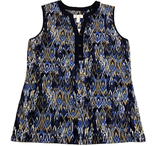 Denim-amp-Co-Womens-Sz-M-Perfect-Jersey-Printed-Sleeveless-Tunic-Tank-Top-New