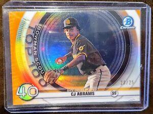 2020 Bowman CJ Abrams Top 100 Orange Refractor #/25 - San Diego Padres