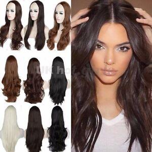 Female Long Straight Wavy Curly 3 4 Wigs Natural Hair Half Head Wig