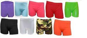 Ladies  women's Girls kids Neon Stretch Hot Pants Shorts Dance Gym Tutu school