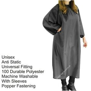 Details about Hairdressing UNISEX GOWN Black Salon With Sleeves Anti  Static, Brand REDSPOT