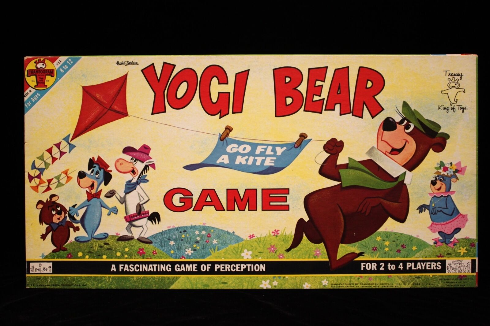 Yogi Bear Go Fly A Kite Game 1961  Never used & complete Transogram 17 1/4