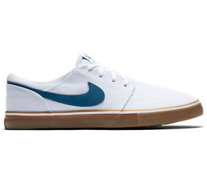 00423d63c8 Nike SB Portmore II Solar CNVS Canvas White/Blue Mens Skate Shoes ...